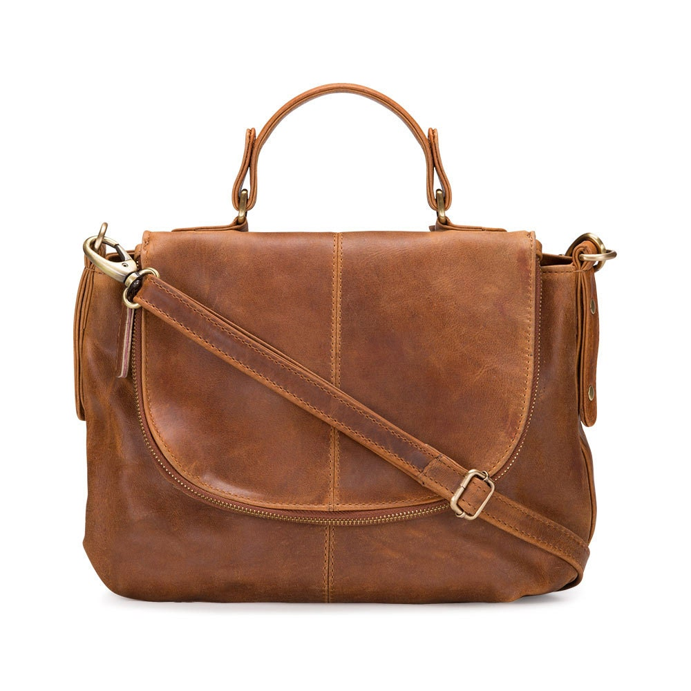 Leather Shoulder Bag Purse Tan