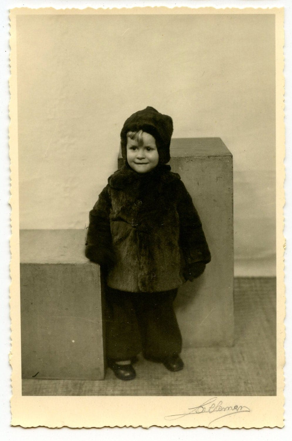 Image of 1940s Little Boy Fur Coat Real Photo Postcard Antique RPPC Vintage Children Fashion