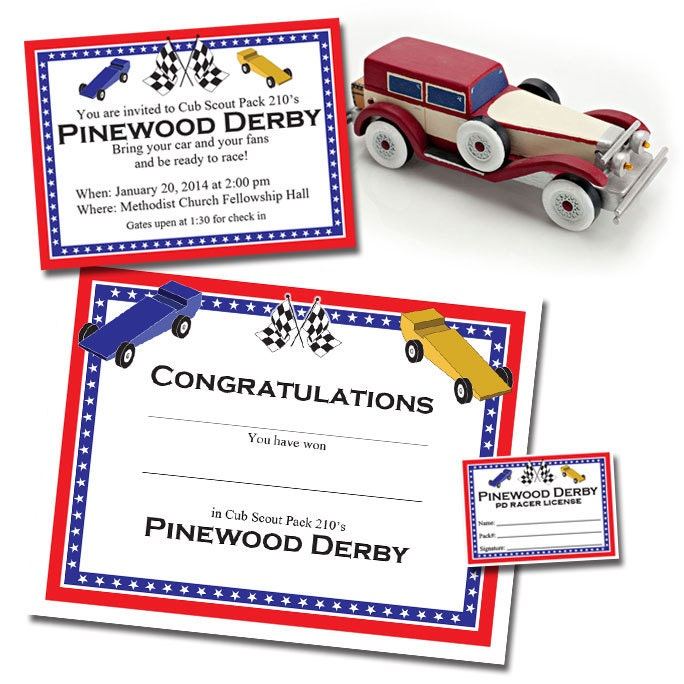 Custom Pinewood Derby Invitation Racer S License