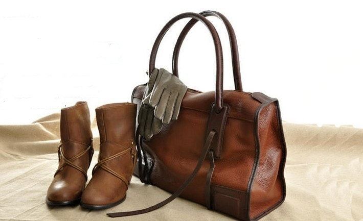 Coffee brown Leather Tote/shoulder bag/hand bag/leather tote - fallinlovebags