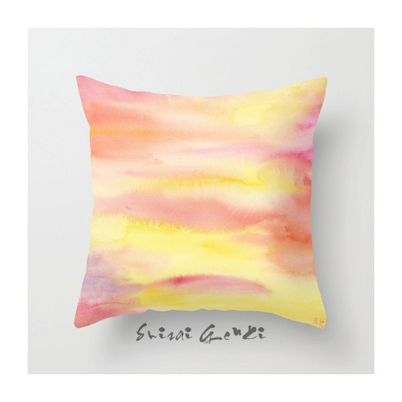 The Rhythm of Orange - Abstract - Art Watercolor Painting by Suisai Genki, Throw pillow cover - 16x16 - 18x18""