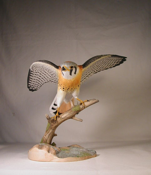 Open-winged American Kestrel male Hand Carved Wooden Bird