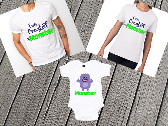 Ive Created A Monster Set  New Baby Shower Mum Dad Ive Created A Monster Set Mummy Daddy Matching New Baby Photoshoot Outfit Baby Shower