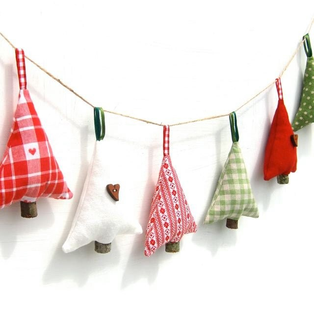 Rustic Christmas Tree Decoration, Choice Of Natural Scents, Red Green White Scandinavian Folk Cottage Decor, Six designs To Choose From - freespiritdesigns2