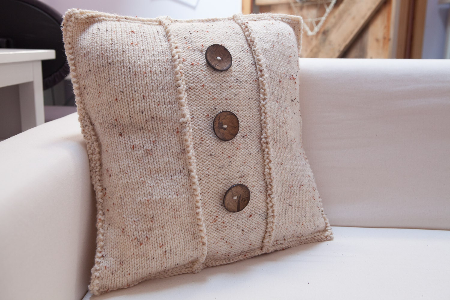 Cream Tweed cushion cover with wooden buttons - BittyCreations