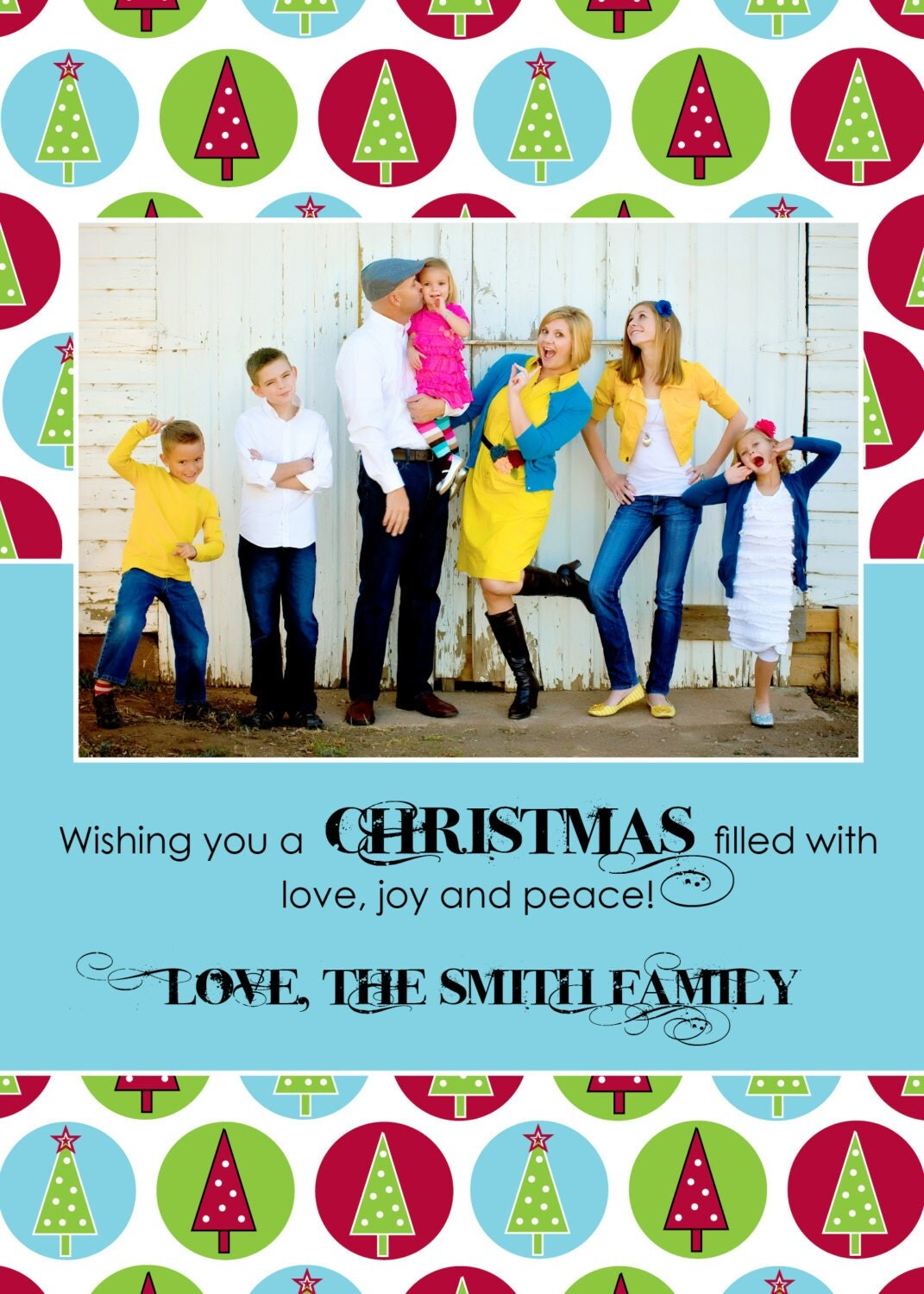 Photo Holiday Christmas Card - T R E E S