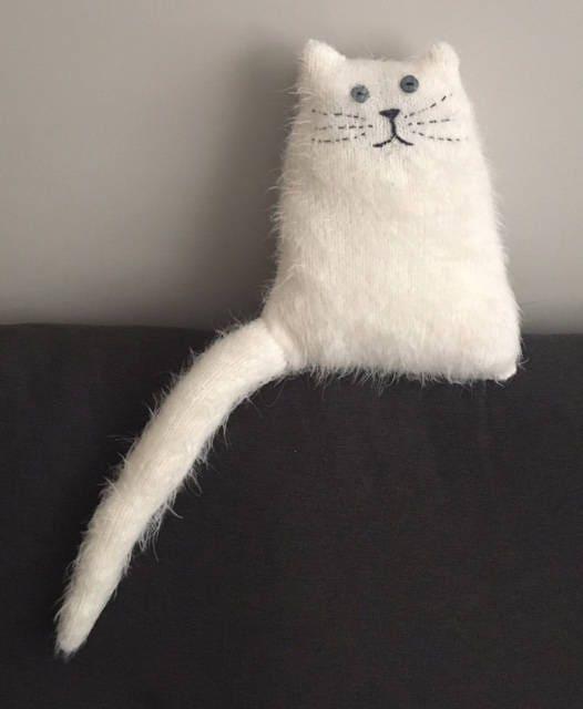 Cat Plush Ivory OffWhite Stuffed Kitty Kitten Small Stuffed Animal Soft Toy Doll Handmade Gift Nursery decor Gift for cat lover