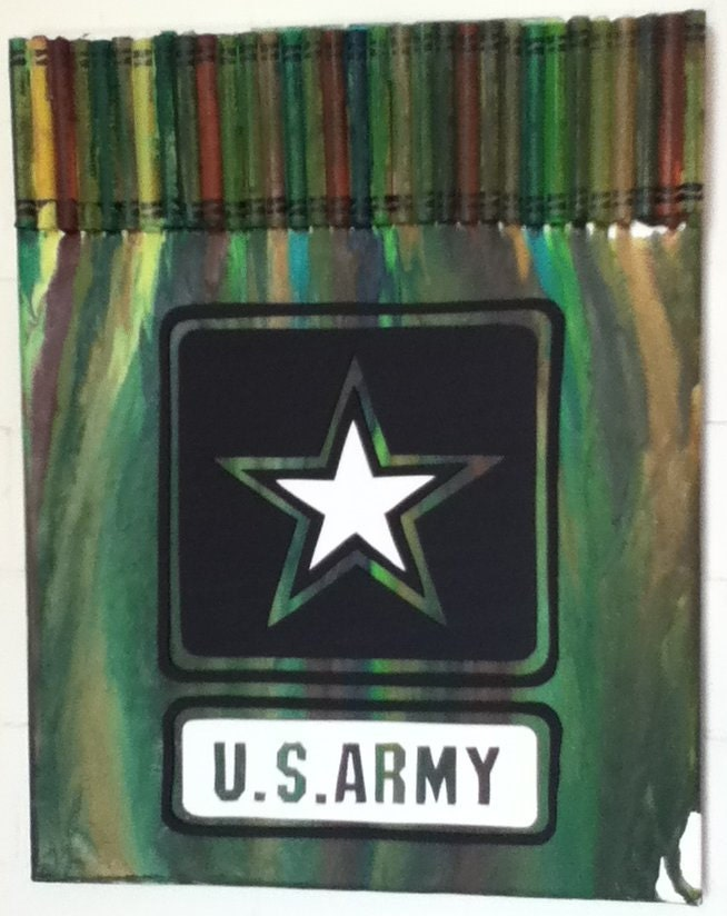Items similar to melted crayon art us army on etsy for Art sites like etsy