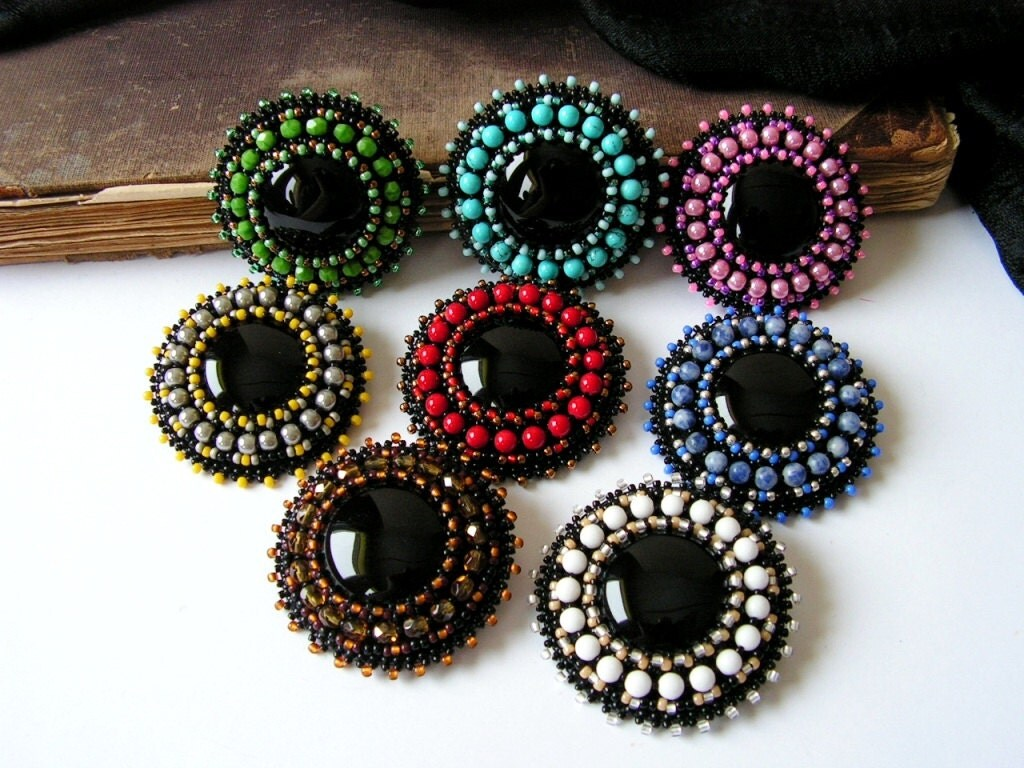 items similar to black onyx cabochon brooch bead