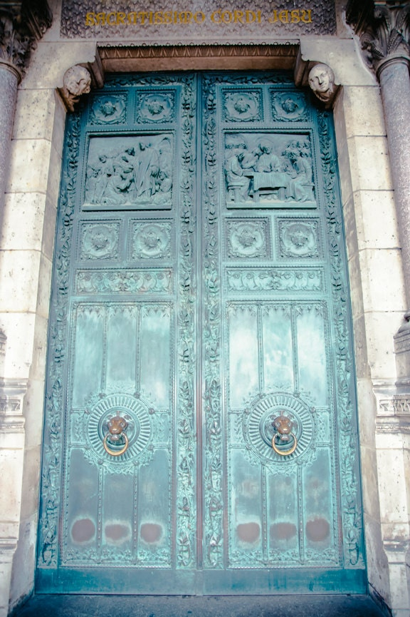 Paris Photograph - Montmartre Patina - Fine art travel photography - French door art - Vintage beauty - Tiffany blue green - SerantoniDesigns