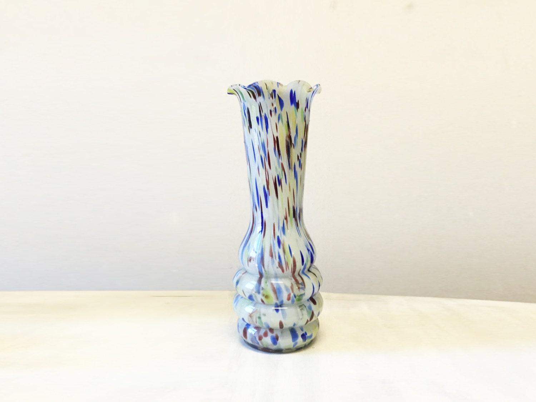 Confetti vase vintage vase vintage glass vase confetti glass vase mid century vase art glass atomic vase large vase retro glass vase