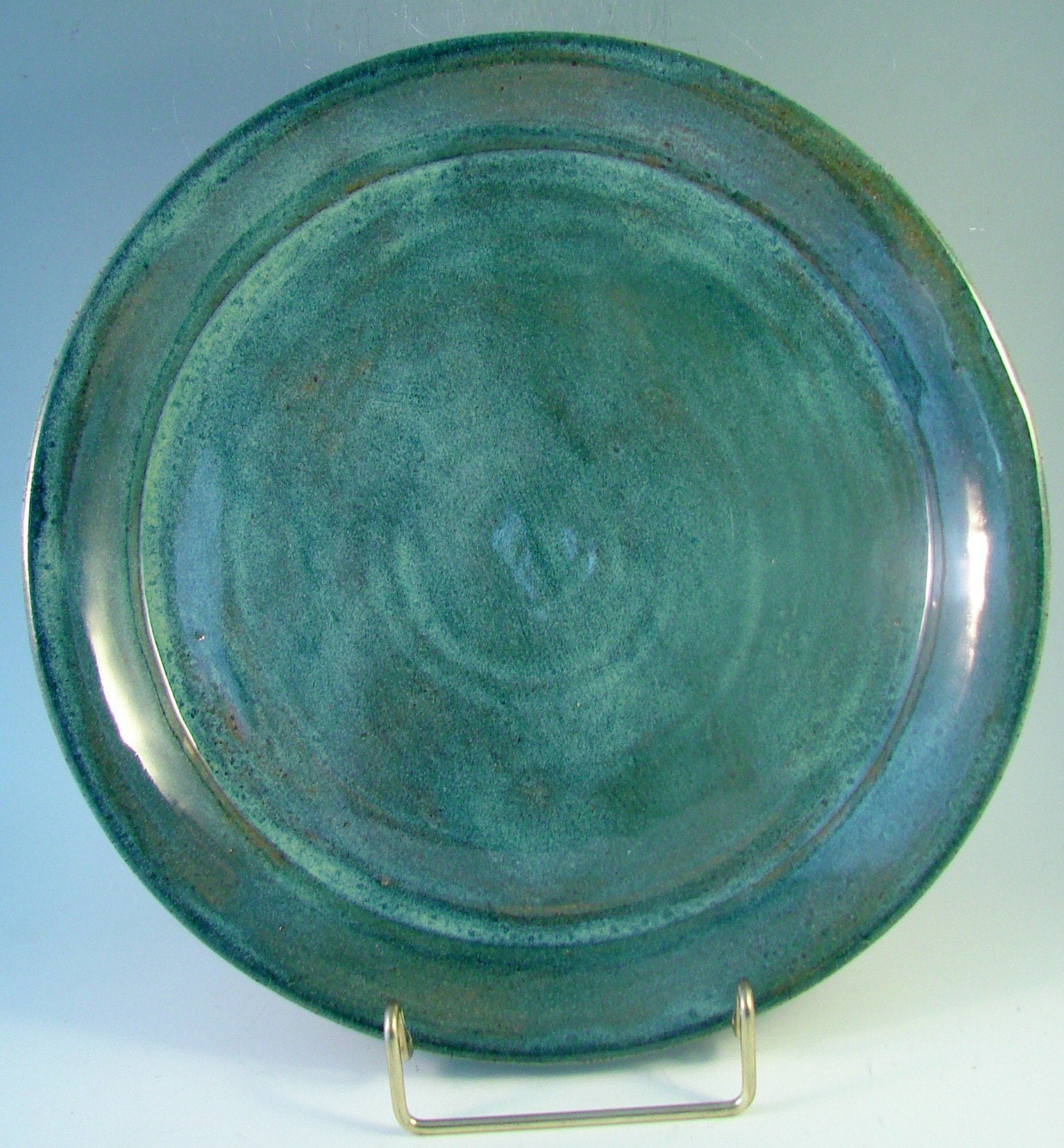 Blue Green Dinner Plate Handmade Stoneware Clay By