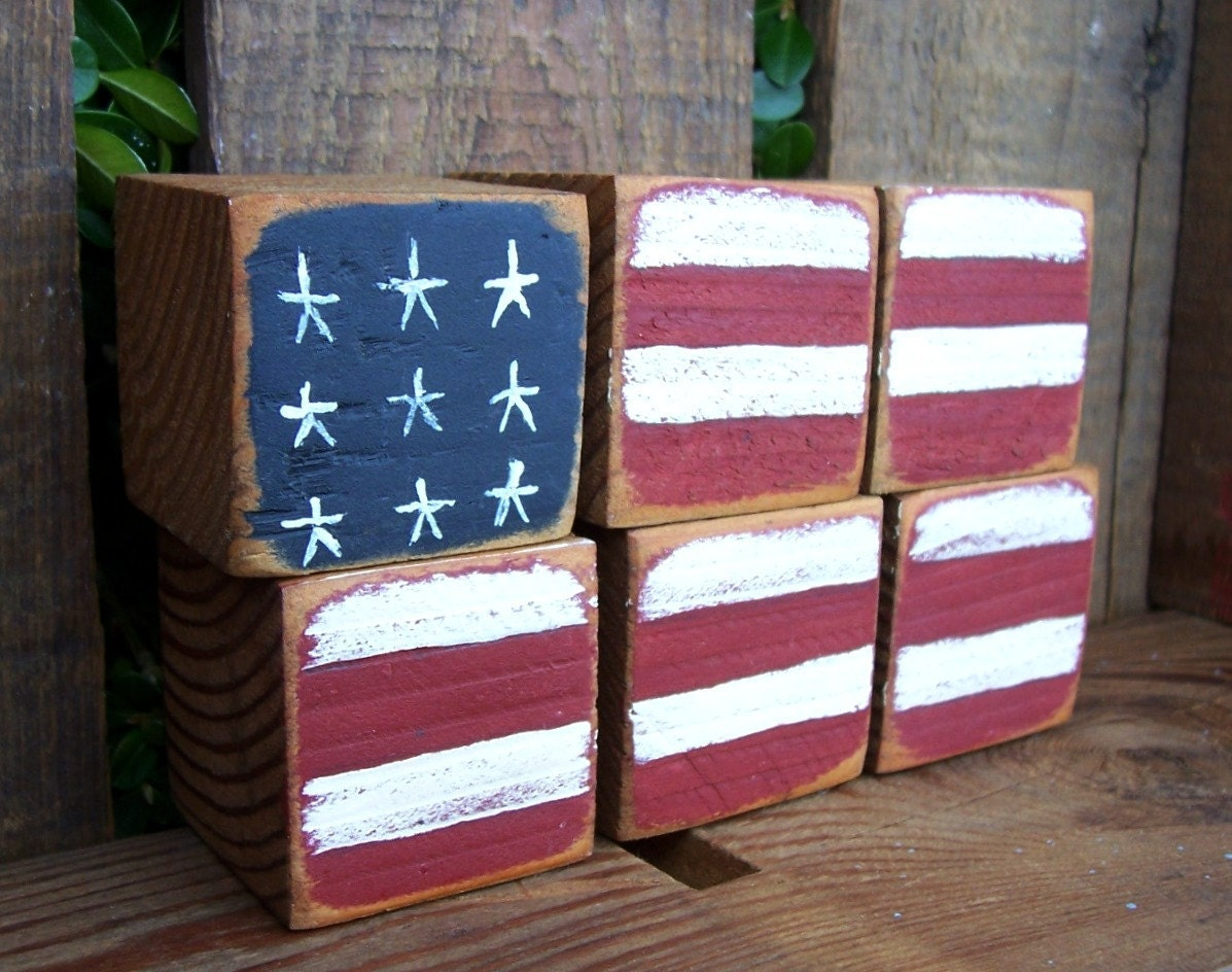 Treasured Shabby Chic Rustic Old Glory Wooden Blocks