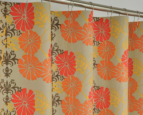 Orange Brown Retro Shower Curtain 72 X 72 By PondLilly On Etsy