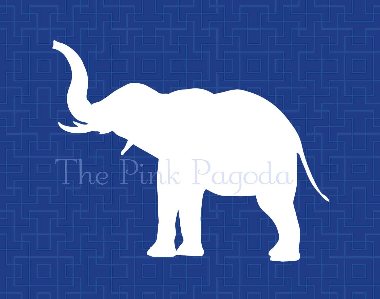 White Elephant on Navy Lattice Facing Left Giclee 11x14 - thepinkpagoda