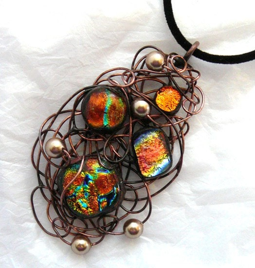 Dichroic Glass Wire Wrapped Pendant & Necklace