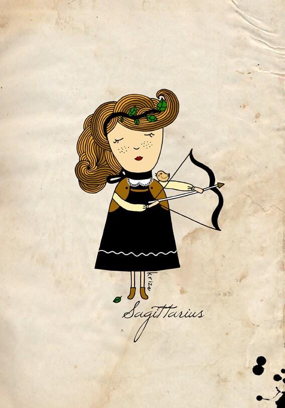 Sagittarius Art , Digital Illustration, Sagittarius Print - krize