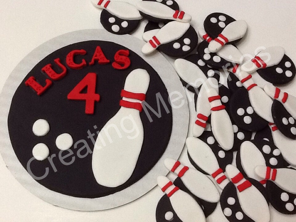 Cake Set/ BOWLING EDIBLE TOPPERS for Cupcake Cookies or by ...