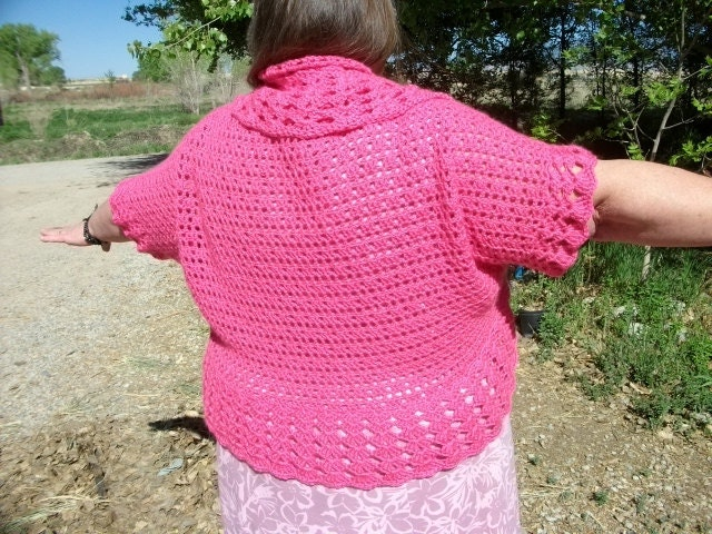 Plus Size Crochet Shrug Mesh Pattern Bolero in sizes L XL 1X 2X 3X 4X ...