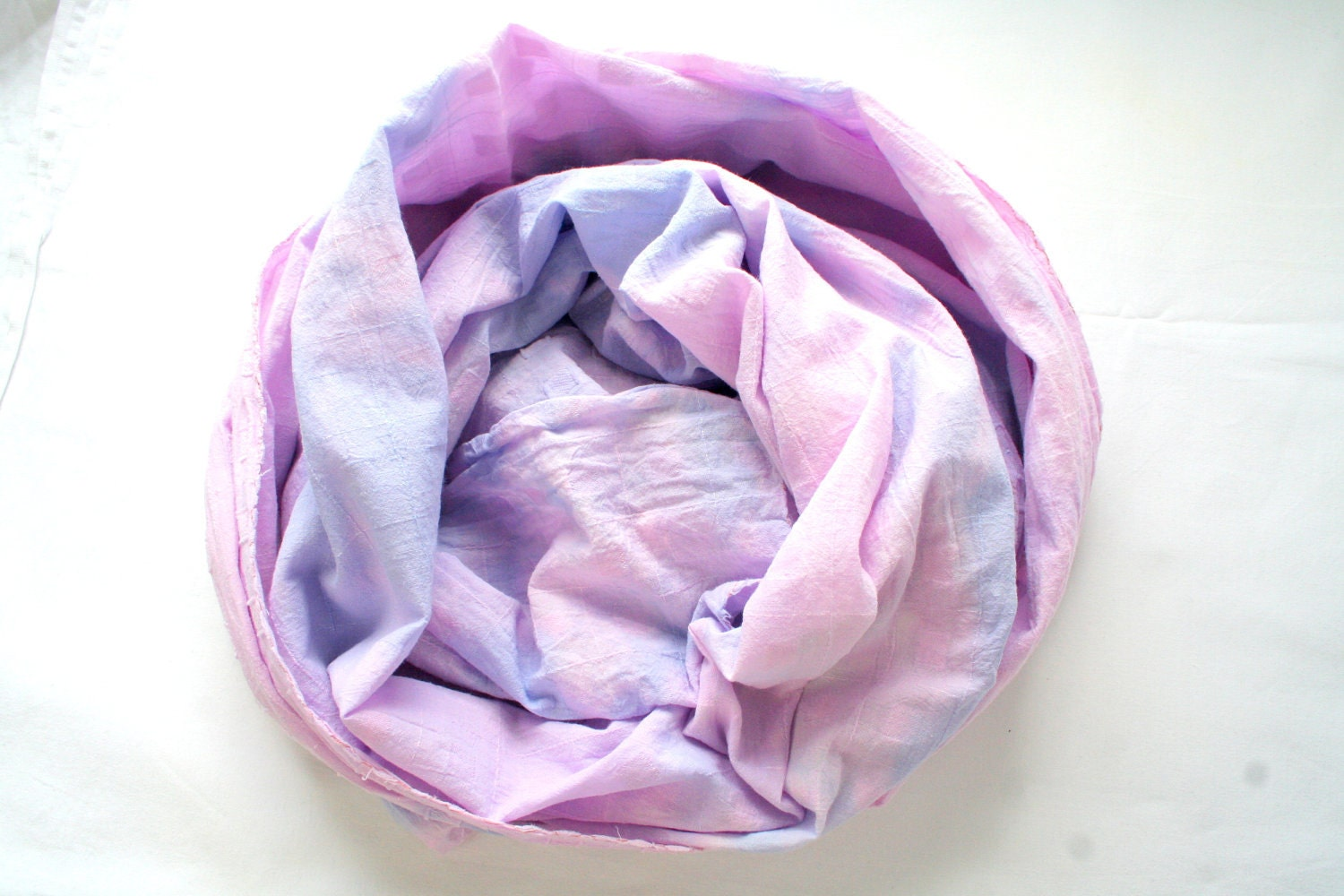 SALE 30% Hand dyed shawl in shades of white pink purple and blue - extra large summer cotton scarf or wrap - LilacCadillac