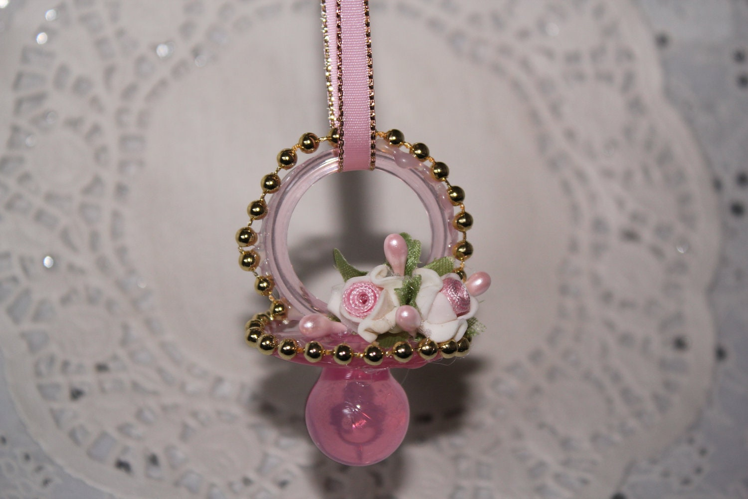 baby shower pacifier necklace shabby chic 12 pieces baby shower