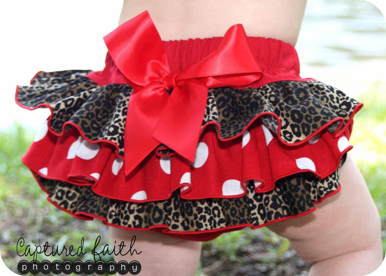 Upsized Minnie Dot Leopard Ruffled Bottom Bloomer 2T, 3T, 4T, 5, 6