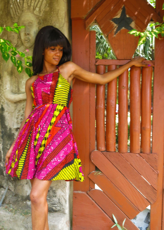 Fast Like Lightening Dress  Summer Dress  African Print Dress  Festival dress  Cute dress  Pink  Patterned dress  African