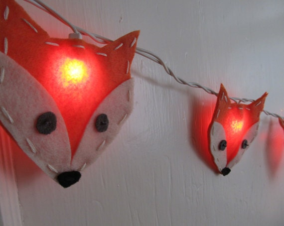 Felt Fox String Lights/Night light for Nursery by bubblewish