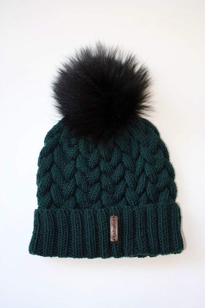 Handmade knitted wool womens girls beanie woolly hat with detachable real fur pom pom pompom