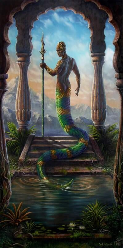 Items similar to Original fantasy oil painting art serpent ...