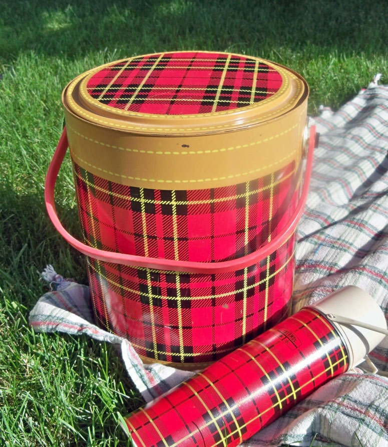 1950 S Red And Black Tartan Plaid Picnic Cooler By