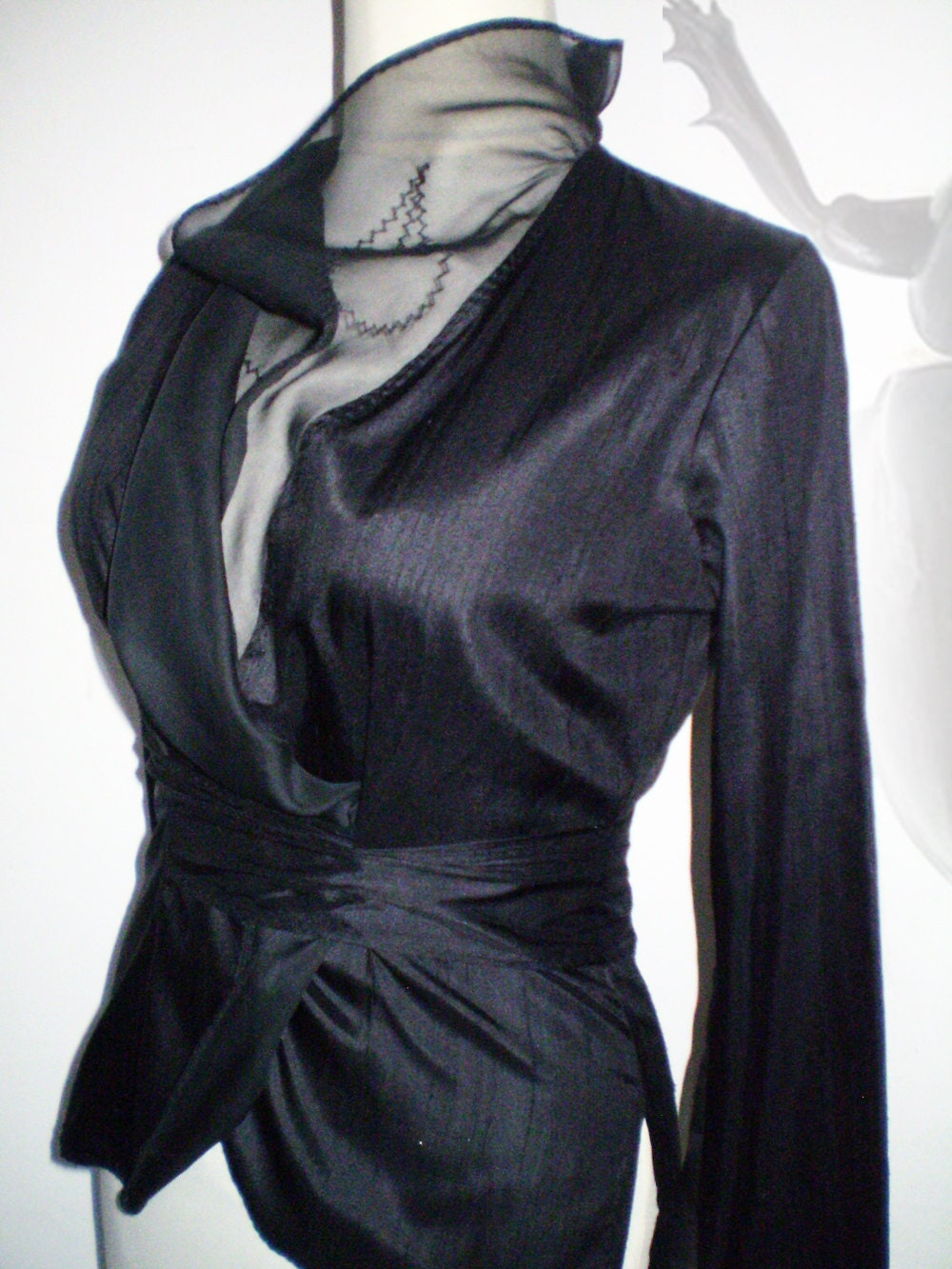Black blouse of  douppioni silk with embroidered collar organza