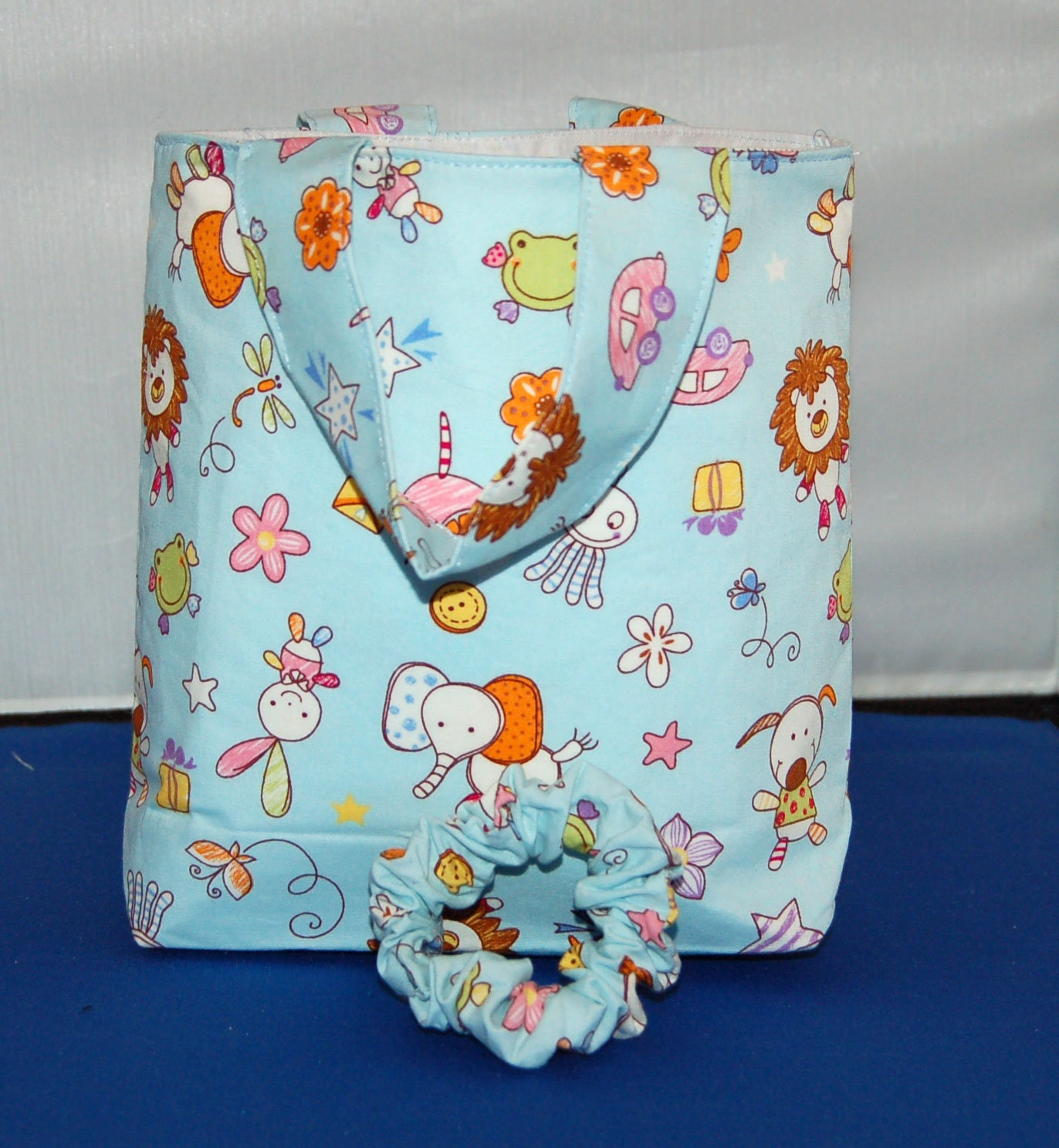 Childrens Animal Tote Bag With Pocket  Scrunchie To Match Handmade