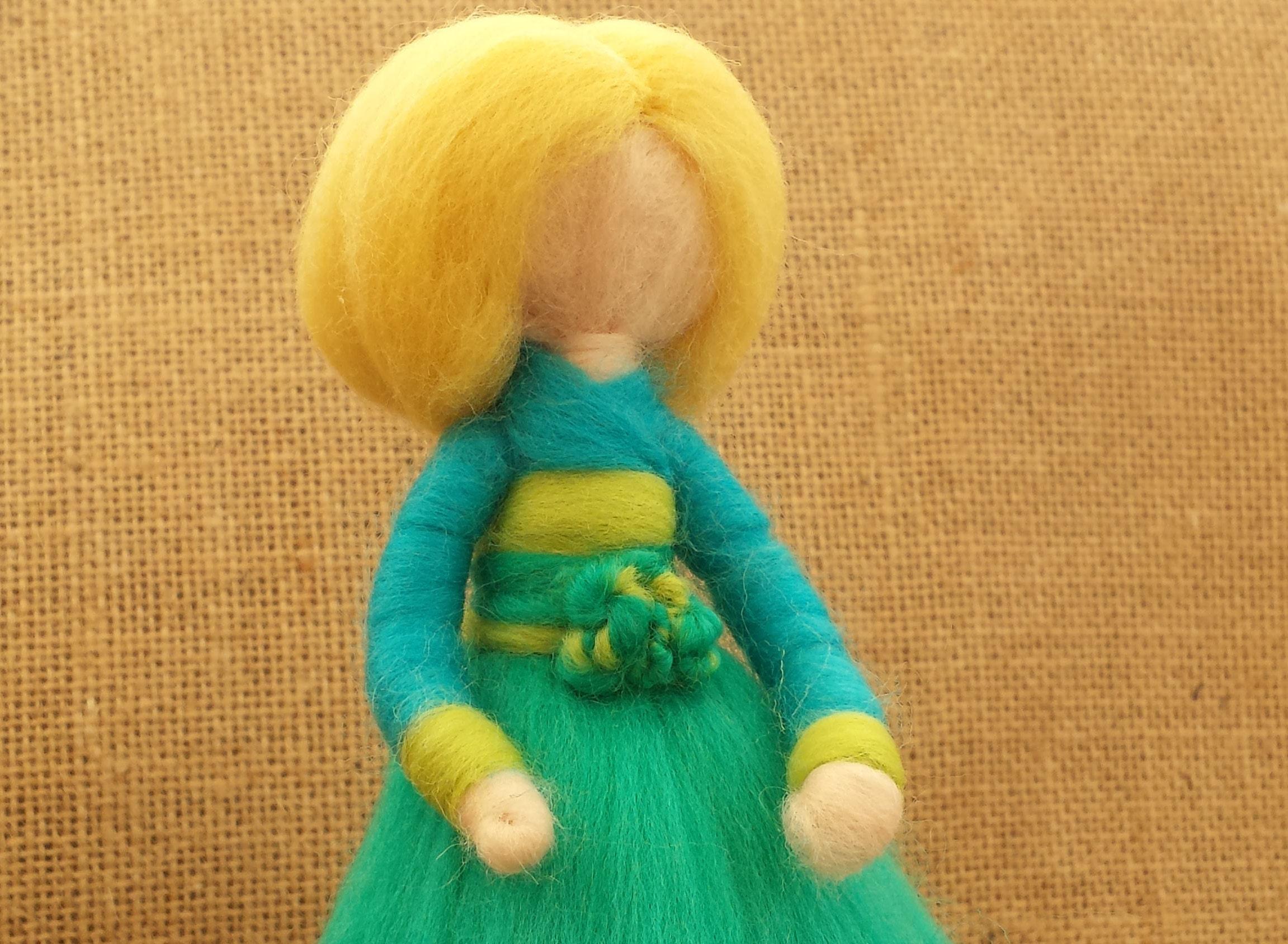Needle Felt Fairy Waldorf Inspired Turquoise and Green figure Miniature Angel Ornament Felted Fairytail Doll Faerie Fairie