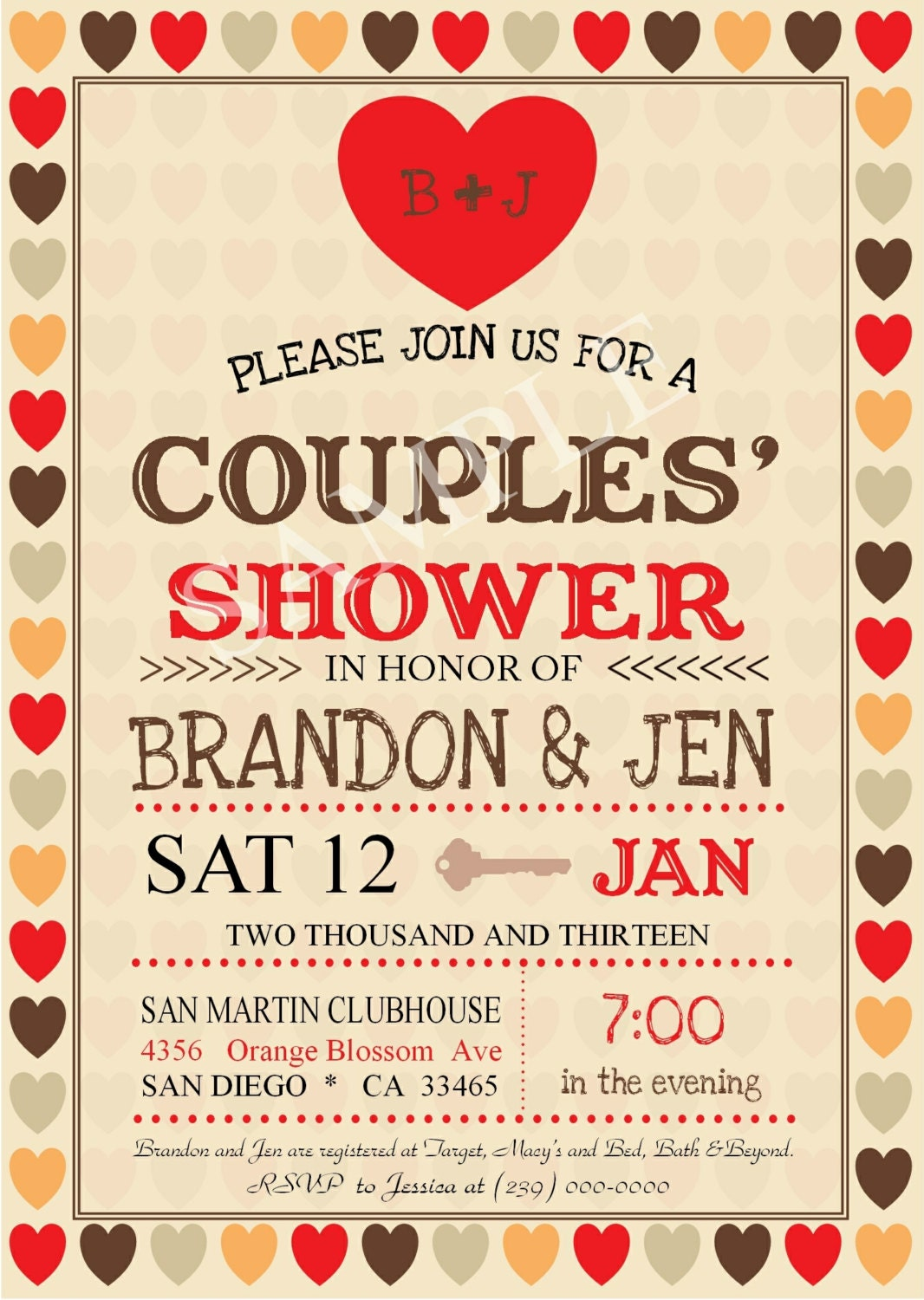 Couples Wedding Shower Jack & Jill Digital Invitation