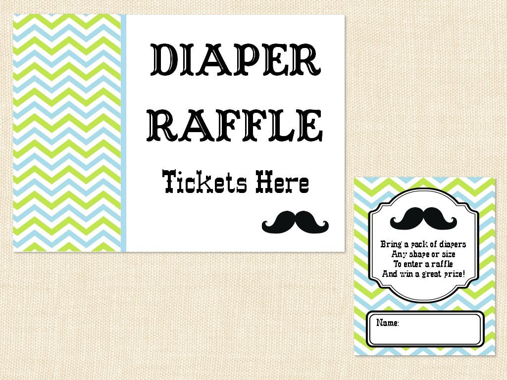 mustache diaper raffle ticket baby shower invitation insert blue green