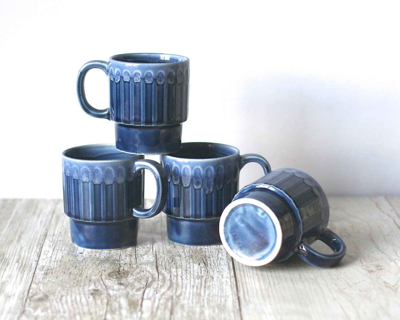 Ceramic Stacking Mugs Japan Denim Blue Set Of FourJapanese Ceramic Mugs