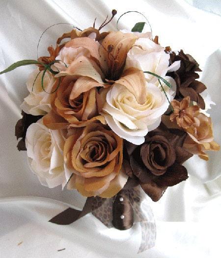 Blue Brown Wedding Bouquets : Wedding bouquet bridal silk flowers brown cream by