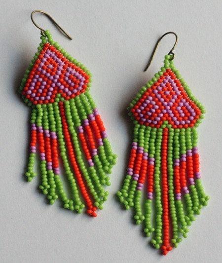 Native American / Huichol inspired neon beaded earrings