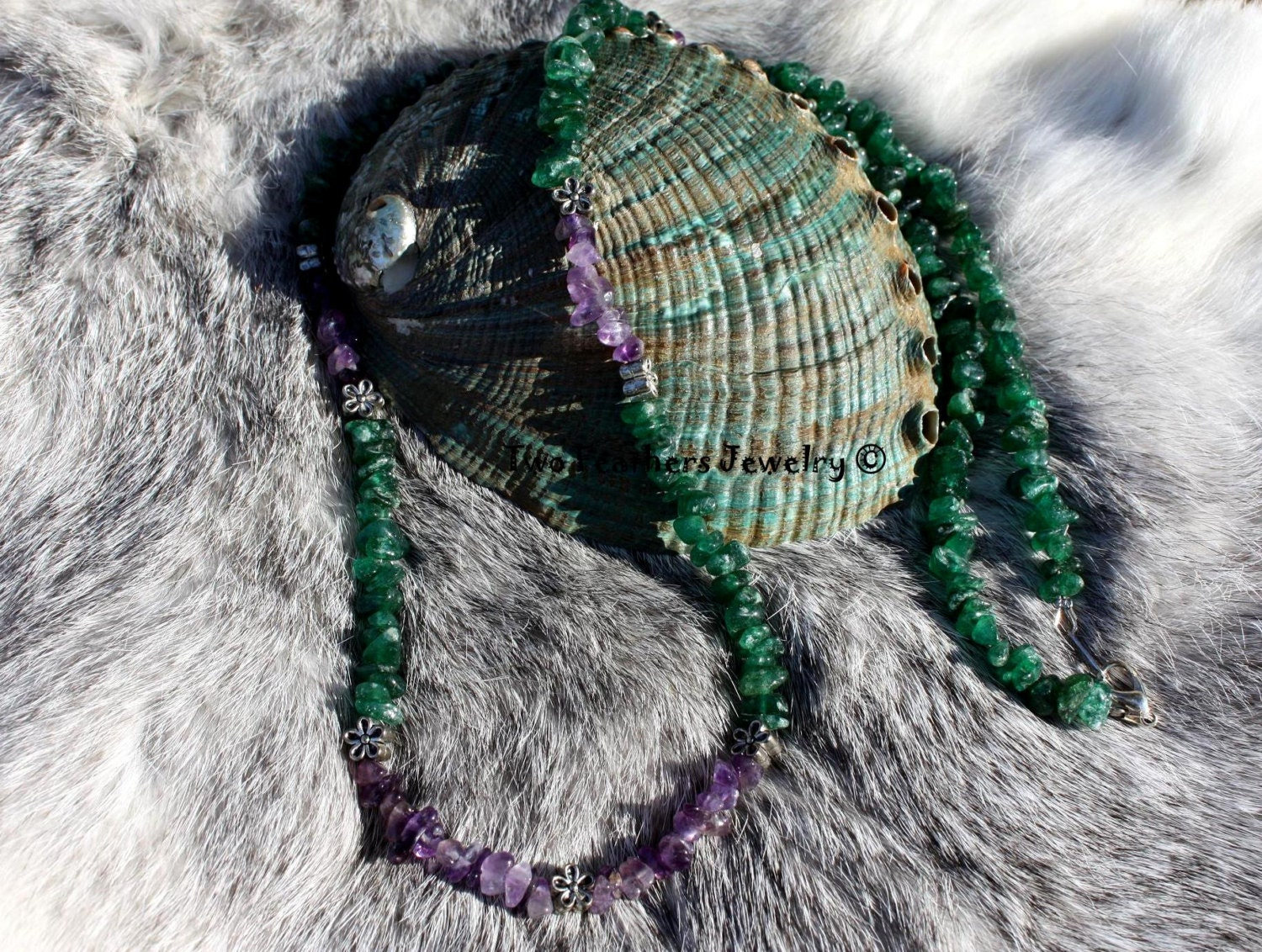 Wildflower Necklace - Amethyst Necklace - Green Aventurine - Green And Purple - Gemstone Necklace - Gift For Her - Nature Inspired - Natural - TwoFeathersJewelry