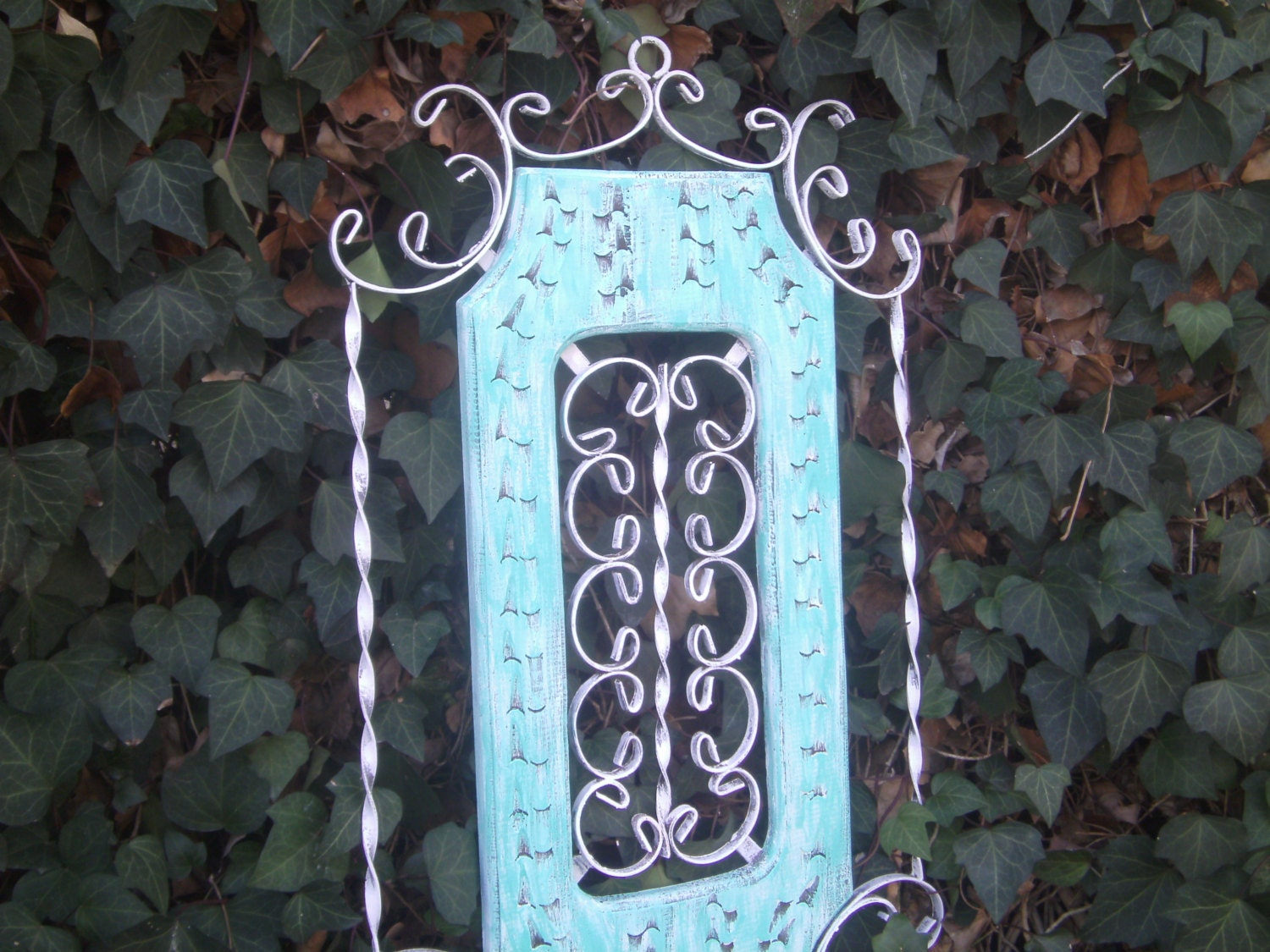 Wrought Iron Wall Decor With Wood Frame : Vintage shabby chic wrought iron rustic by silverstarsalvage
