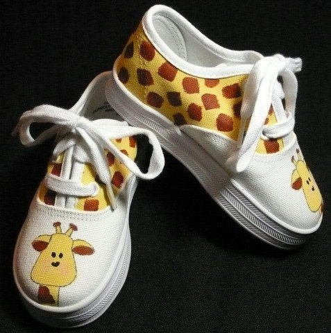Hand Painted Boy's Giraffe Canvas Lace Up Shoes