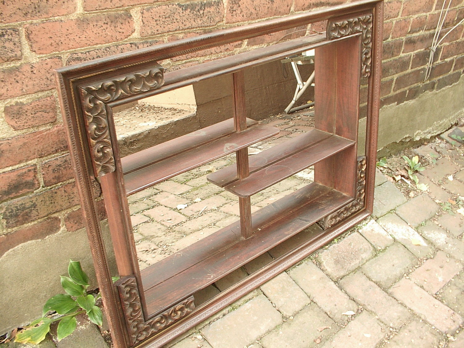 Antique wall mirrored shelves wood shabby chic by for Decorative bedroom mirrors
