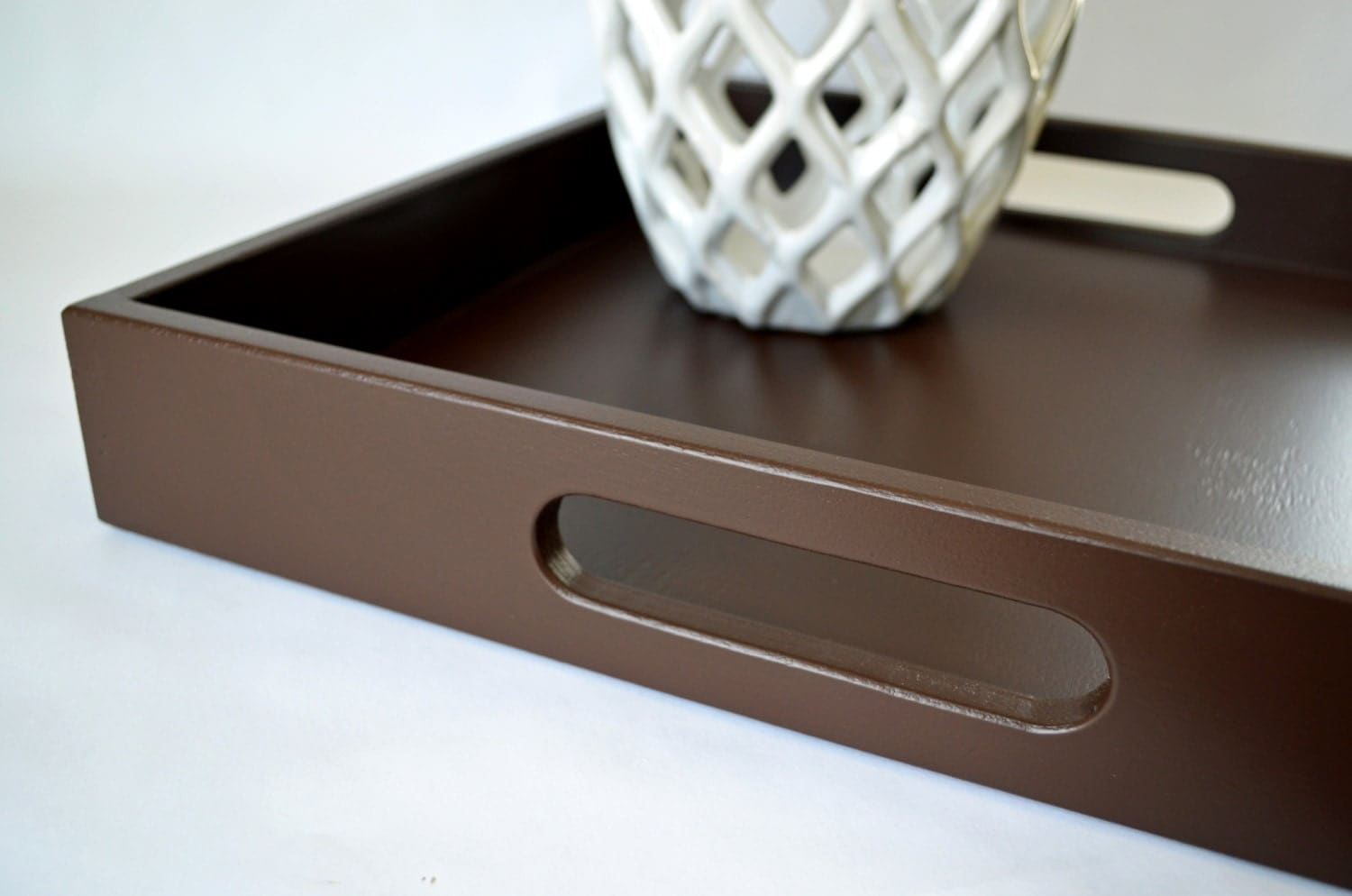 Items Similar To Chocolate Brown 16 X 16 Wood Square Serving Tray Coffee Table Decoratvie Tray