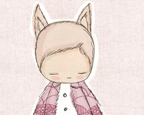 Girl Room Art - Little Fox Girl - Pink - Australia - honeycup