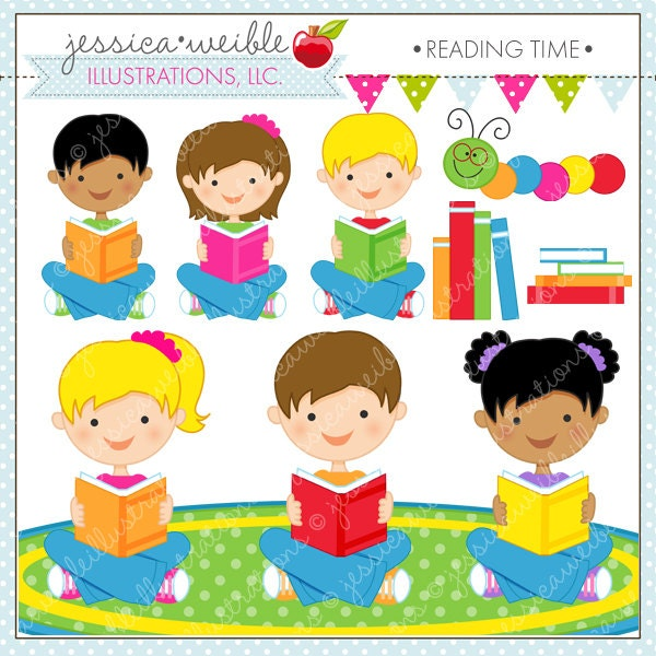 Reading Time Cute Digital Clipart For By Jwillustrations