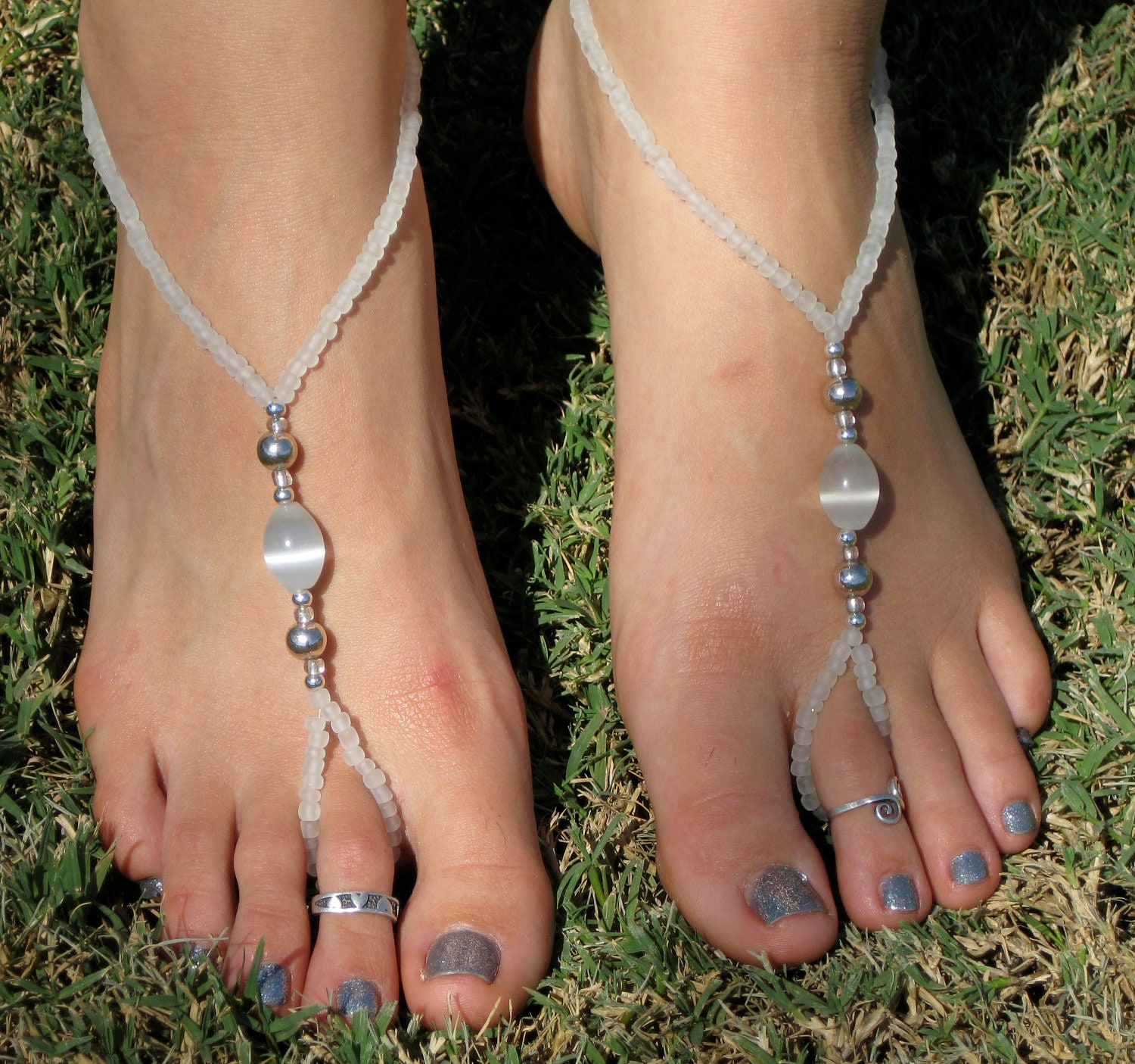 White and Silver Barefoot Sandals Slave Anklet by ...