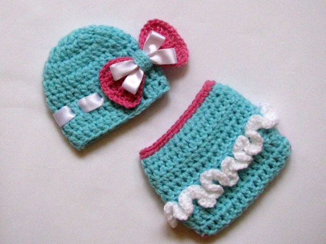 Crochet Baby Hat and Diaper Cover Set -Newborn Baby Girl - Photography ...