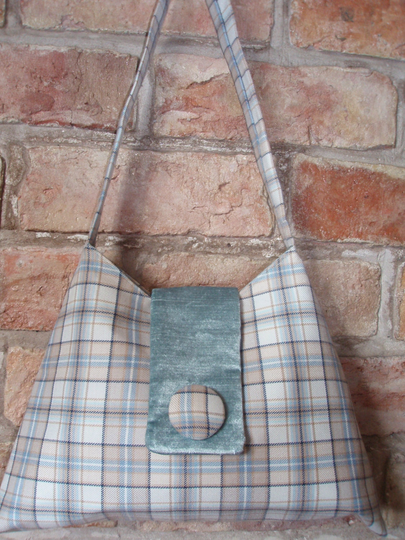 Sale!  Pale blue tartan handbag