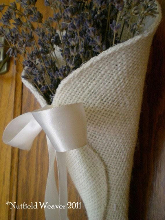 Ivory burlap pew cone rustic wedding decor From NutfieldWeaver